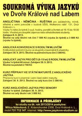 Soukromá výuka jazyků ve Dvoře Králové nad Labem