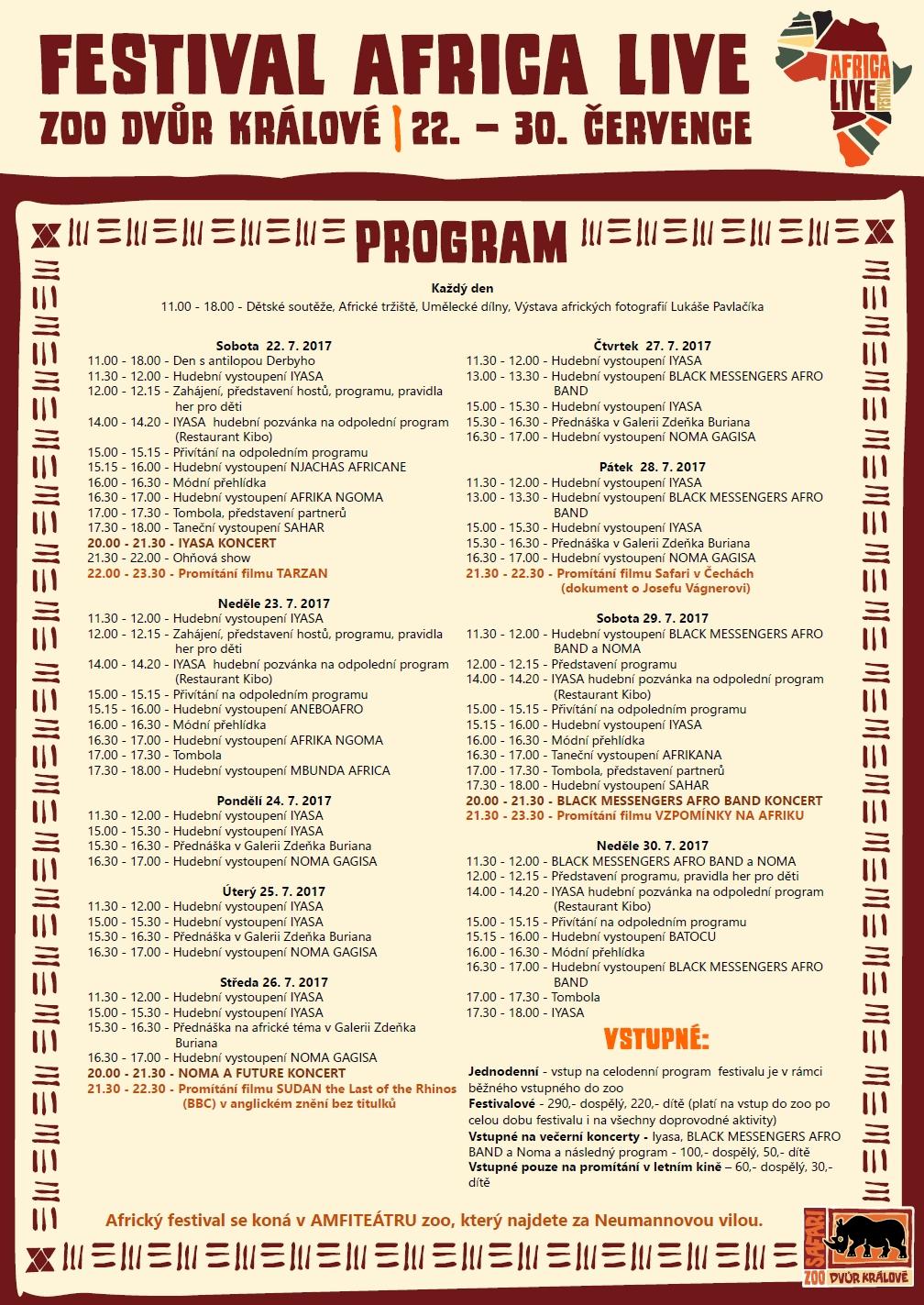 Program festivalu Africa Live 2017
