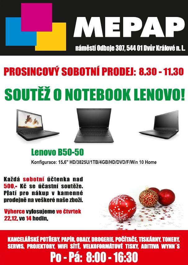 Prosincová soutěž o notebook Lenovo s firmou Mepap.