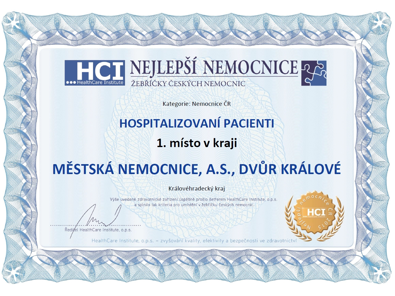 Ocenění Městské nemocnice ve Dvoře Králové nad Labem