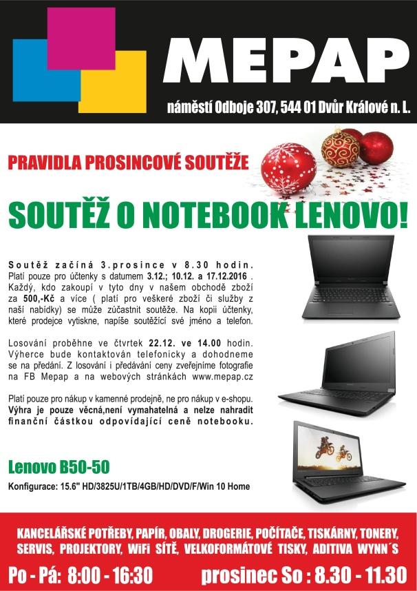 Soutěž o notebook Lenovo s firmou Mepap