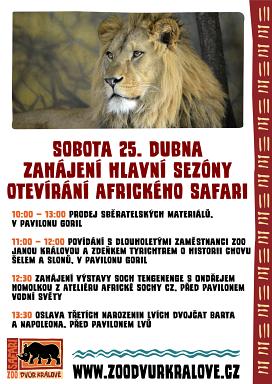 Zahájení hlavní sezóny a otevírání afrického safari