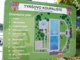 Orientační plán Tyršova koupaliště ve Dvoře Králové nad Labem
