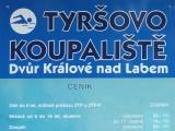 Ceník vstupného na Tyrškovo koupaliště ve Dvoře Králové nad Labem
